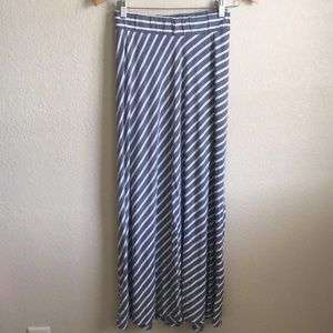 Gray striped maternity maxi skirt